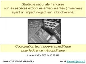 Stratgie nationale franaise sur les espces exotiques envahissantes