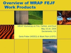 Overview of WRAP FEJF Work Products WRAP Workshop