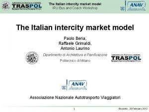 The Italian intercity market model IRU Bus and