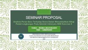 SEMINAR PROPOSAL Analisis Peran Guru Terhadap Siswa Dalam