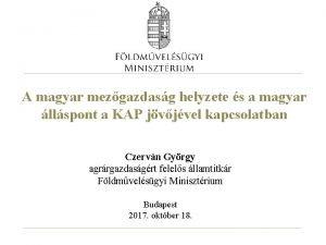A magyar mezgazdasg helyzete s a magyar llspont