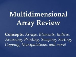 Multidimensional Array Review Concepts Arrays Elements Indices Accessing