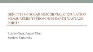 BENEFITS OF SOLAR MERIDIONAL CIRCULATION MEASUREMENTS FROM NONEARTH