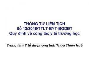 THNG T LIN TCH S 132016TTLTBYTBGDT Quy nh