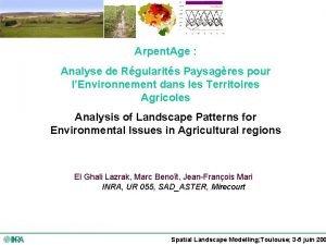 Arpent Age Analyse de Rgularits Paysagres pour lEnvironnement