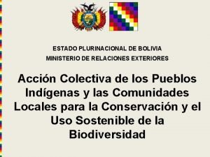 ESTADO PLURINACIONAL DE BOLIVIA MINISTERIO DE RELACIONES EXTERIORES
