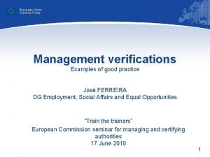 European Union Cohesion Policy Management verifications Examples of
