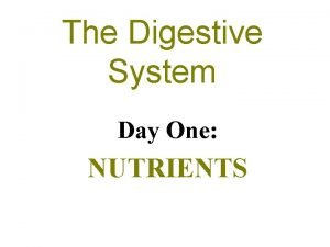 The Digestive System Day One NUTRIENTS Nutrients The