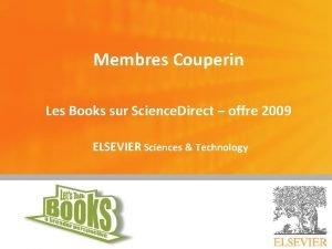 Membres Couperin Les Books sur Science Direct offre