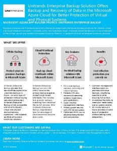 Unitrends Enterprise Backup Solution Offers Backup and Recovery