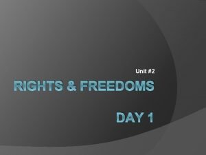 Unit 2 RIGHTS FREEDOMS DAY 1 Would the