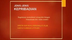 JENISJENIS KEPRIBADIAN Bagaimana memahami orang lain dengan Memahami