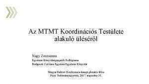 Az MTMT Koordincis Testlete alakul lsrl Nagy Zsuzsanna