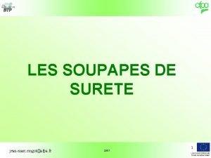 LES SOUPAPES DE SURETE jeanmarc ringotafpa fr 2007