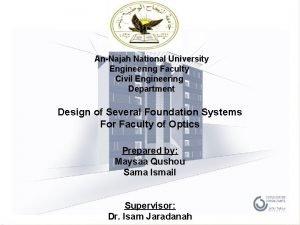 AnNajah National University Engineering Faculty Civil Engineering Department