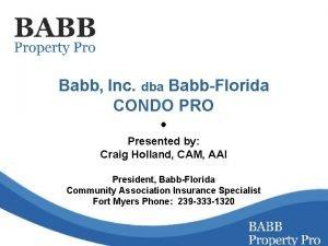 Babb Inc dba BabbFlorida CONDO PRO Presented by