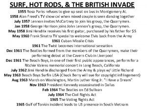 SURF HOT RODS THE BRITISH INVADE 1955 Rosa