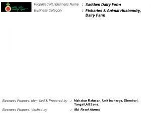 Proposed NU Business Name Saddam Dairy Farm Business