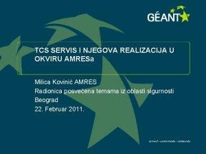TCS SERVIS I NJEGOVA REALIZACIJA U OKVIRU AMRESa