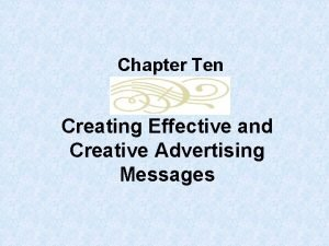 Chapter Ten Creating Effective and Creative Advertising Messages
