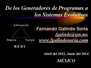 De los Generadores de Programas a los Sistemas