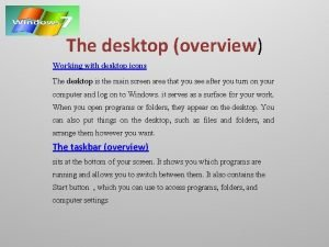 The desktop overview Working with desktop icons The
