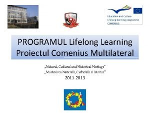PROGRAMUL Lifelong Learning Proiectul Comenius Multilateral Natural Cultural