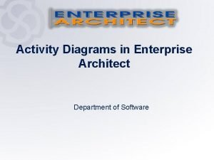 Activity Diagrams in Enterprise Architect Department of Software