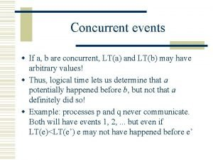 Concurrent events w If a b are concurrent