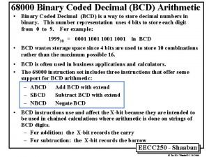 68000 Binary Coded Decimal BCD Arithmetic Binary Coded