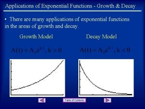 Applications of Exponential Functions Growth Decay There are