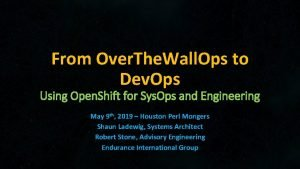 From Over The Wall Ops to Dev Ops