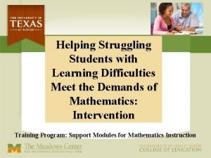 Helping Struggling Students with Learning Difficulties Meet the