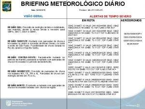 BRIEFING METEOROLGICO DIRIO Data 24102019 VISO GERAL REGIO