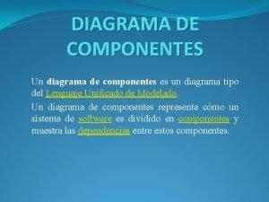 DIAGRAMA DE COMPONENTES Un diagrama de componentes es