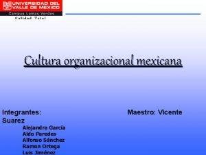 Cultura organizacional mexicana Integrantes Suarez Alejandra Garca Aldo