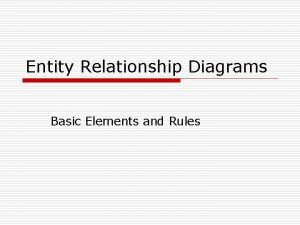 Entity Relationship Diagrams Basic Elements and Rules Introduction
