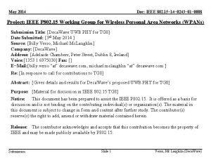 May 2014 Doc IEEE 802 15 14 0243