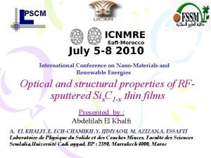 PSCM International Conference on NanoMaterials and Renewable Energies