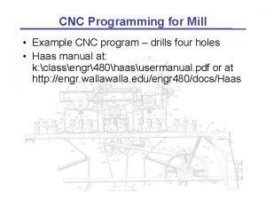 CNC Programming for Mill Example CNC program drills