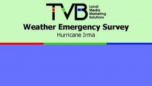 Weather Emergency Survey Hurricane Irma Hurricane Irma September