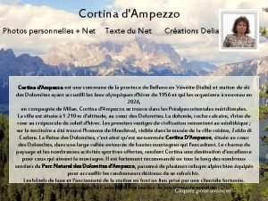 Cortina dAmpezzo Photos personnelles Net Texte du Net