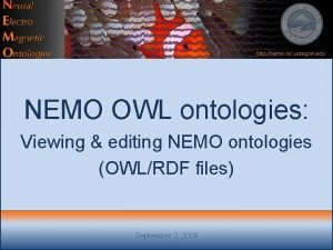 http nemo nic uoregon edu NEMO OWL ontologies
