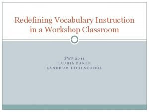 Redefining Vocabulary Instruction in a Workshop Classroom SWP