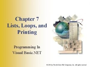 Chapter 7 Lists Loops and Printing Programming In