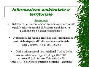 Informazione ambientale e territoriale Sommario Rilevanza dellinformazione ambientale