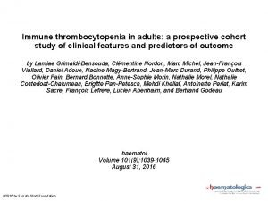 Immune thrombocytopenia in adults a prospective cohort study
