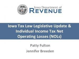 Iowa Tax Law Legislative Update Individual Income Tax