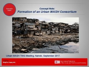 Federation Health WASH Wat SanEH Concept Note Formation