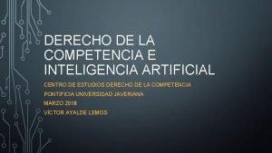 DERECHO DE LA COMPETENCIA E INTELIGENCIA ARTIFICIAL CENTRO